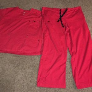 Med couture sz XL Red scrub set